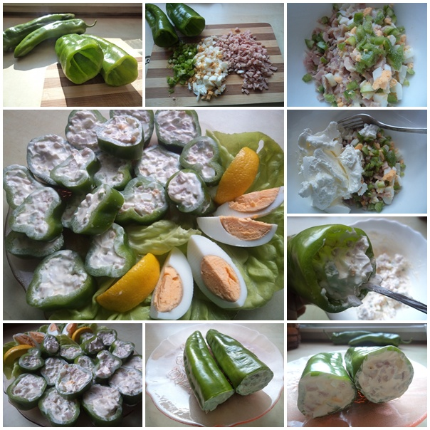 Zelene paprike punjene šunkom i jajima