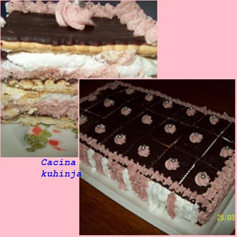 Posna torta sa cokoladnim keksom i pudingom od jagode