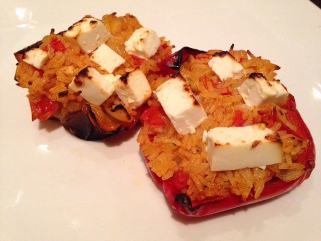 Paprike punjene rižom i feta sirom
